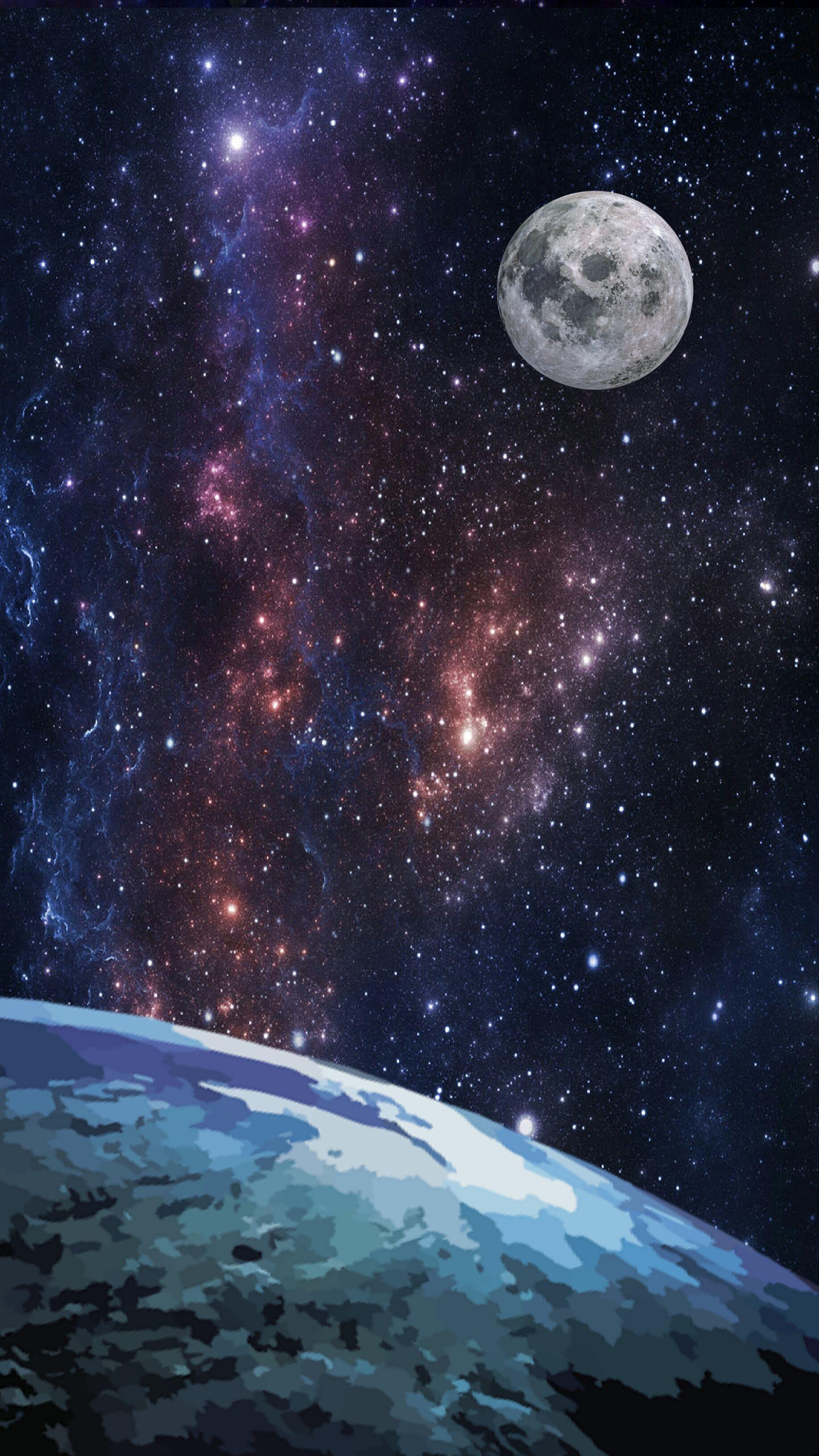 Wallpaper Para Celular Papel De Parede Lua Terra Espa O  -> Imagens Do Universo Para Papel De Parede