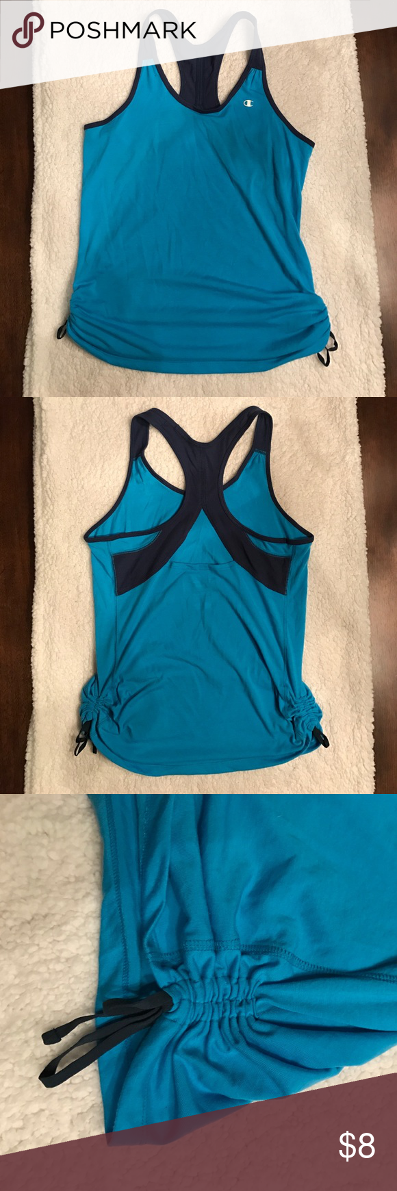 """Women's Champion tank top Super comfy, gently used with a great design, perfect for working out! """"Scrunch"""" tie sides and loose-fitting overall! Only worn ONCE! champion powertrain Tops Tank Tops"""