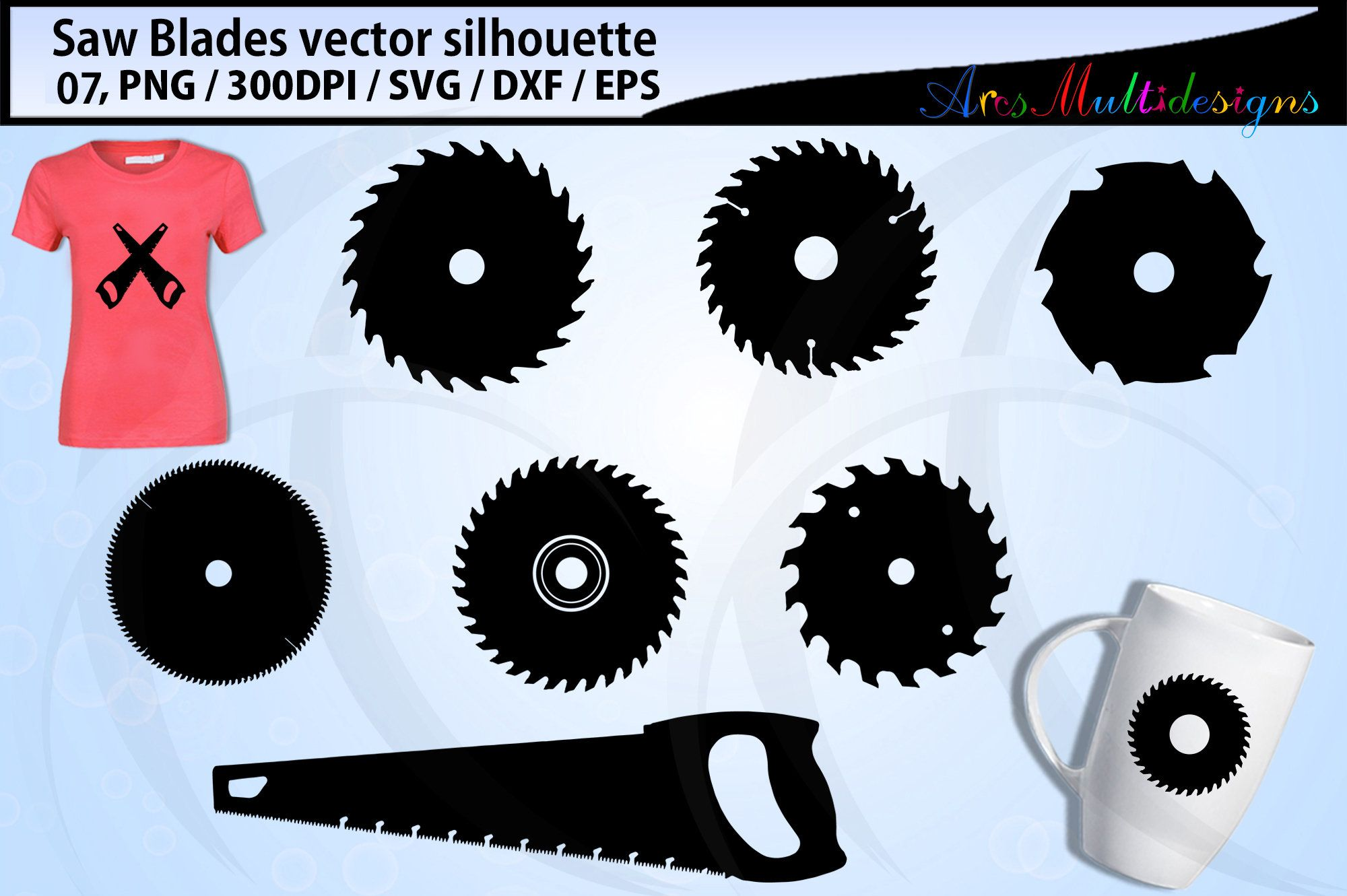 Saw Blade Svg / Circular saw blade silhouettes / saw blade