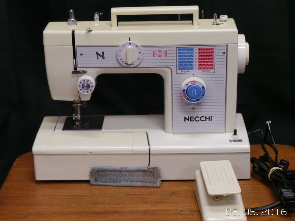 Necchi Sewing Machine 525 Fa Heavy Duty Leather Upholstery Denim Free Arm #Necchi