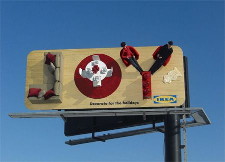 A billboard by IKEA that has a 3D feel to it #outdooradvertising