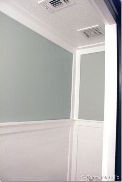 Remodelaholic Inexpensive Plank Wall How To Plank Walls Moldings And Trim Wood Bathroom