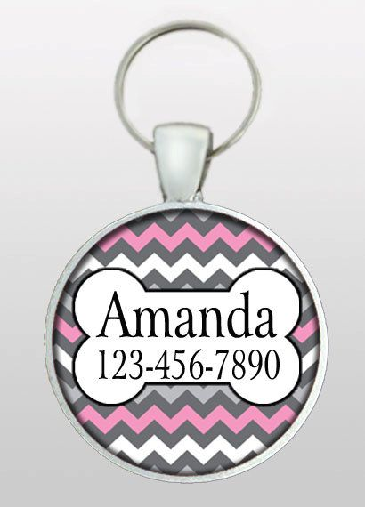 Pet ID Tag - Dog Name Tag - Chevron Dog Tag - Gifts for Girl Dogs - Gifts Under 10 - Girly Dog Tag - Dog ID Tag - Design No. 277