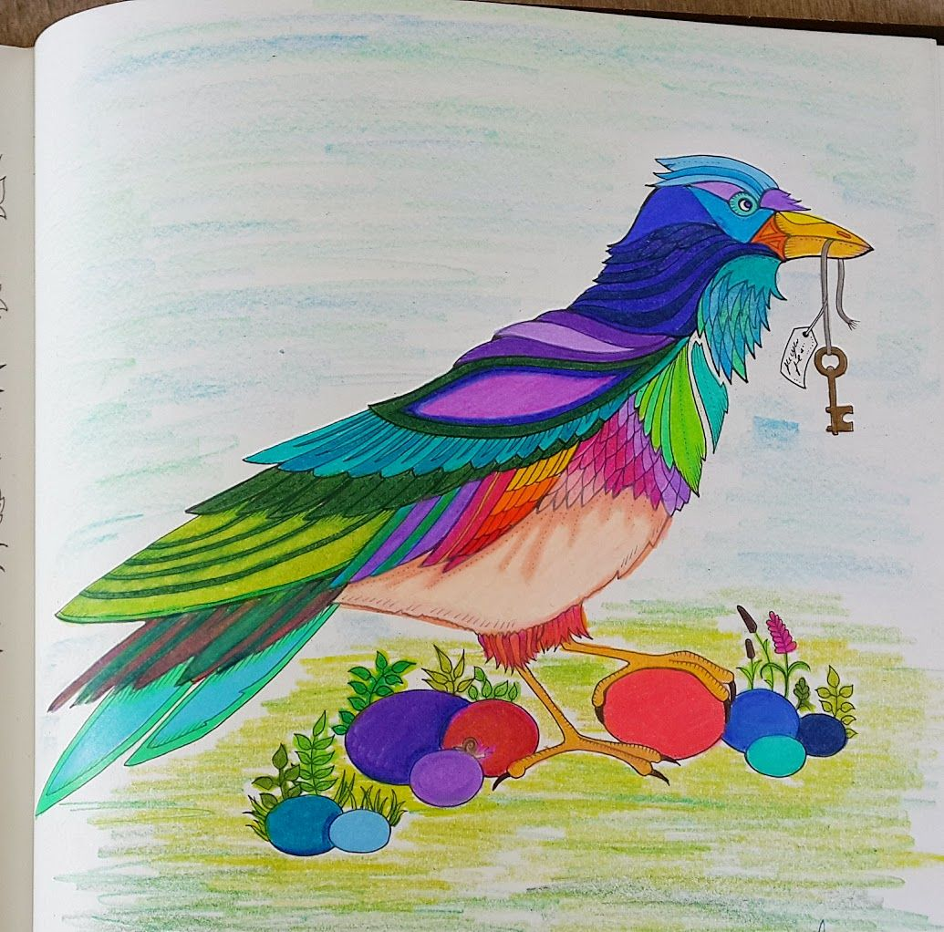 The enchanted forest coloring book review - Colored Crow Bird Page From Enchanted Forest Coloring Book