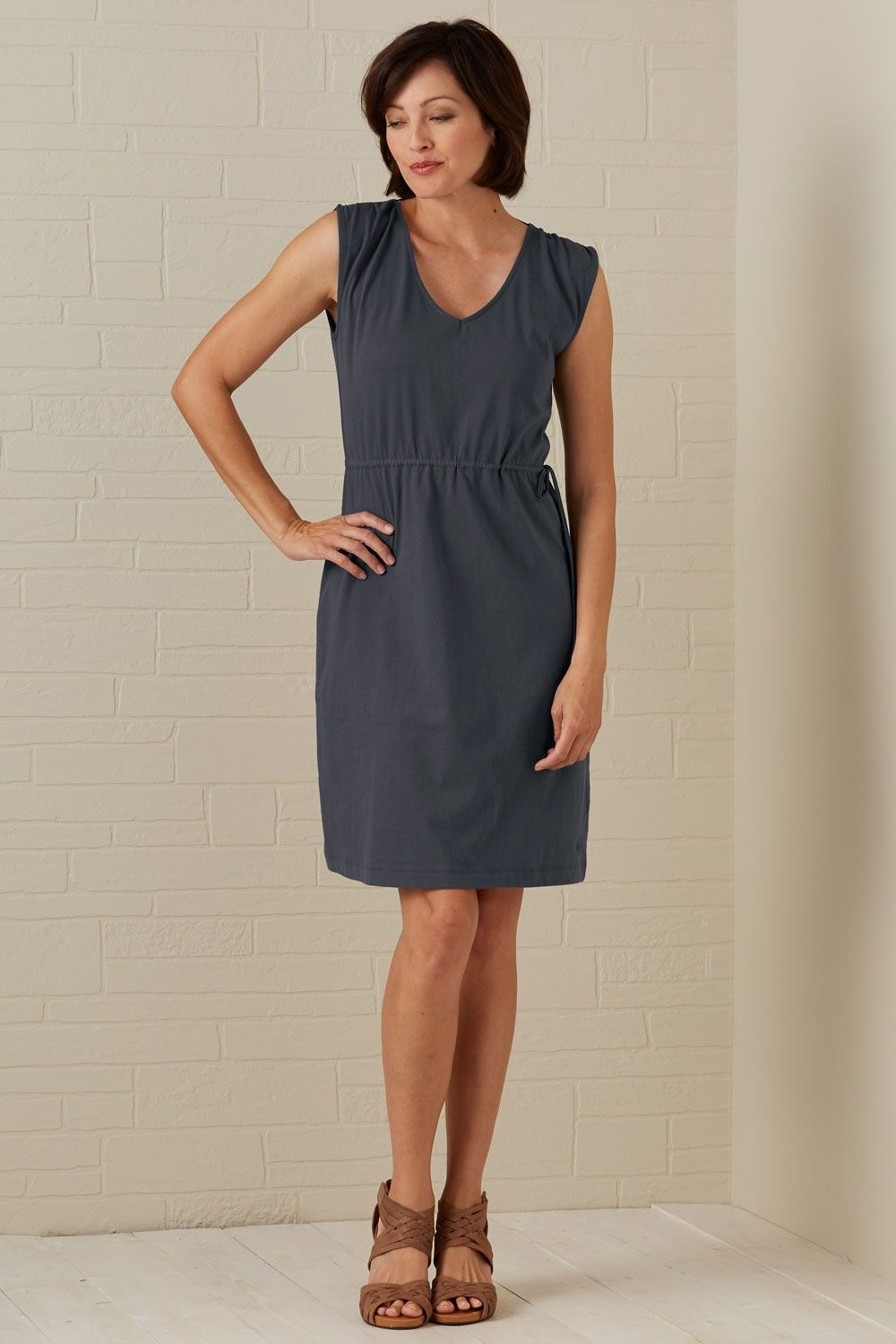 5e5cf611a11 Fair Indigo Double V-neck Organic Fair Trade Dress. Made fairly in Lima