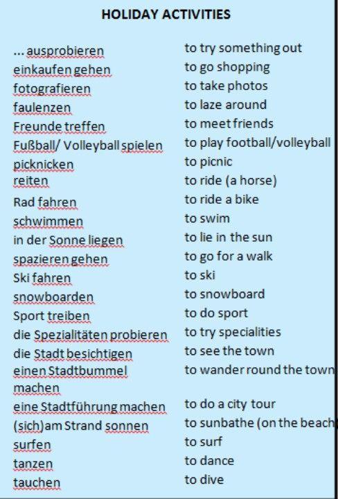 Holiday Activities Englisch Wortschatz Texte German Language