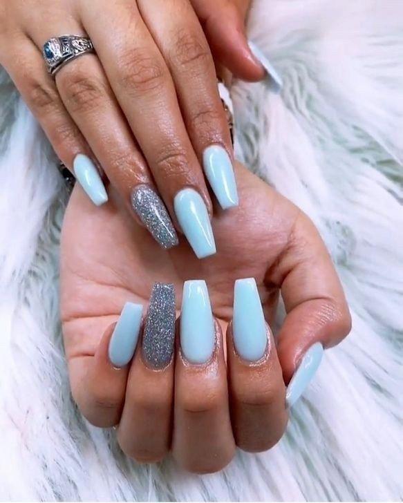 Nail Shapes Short Stilleto Nailshapesballerina In 2020 Blue Glitter Nails Baby Blue Nails Silver Nails