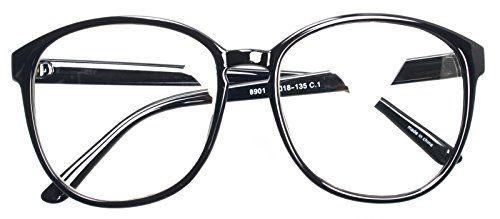 31a254906ff ENCACC Oversized Big Round Horn Rimmed Eye Glasses Clear Lens Oval Frame  Non Prescription