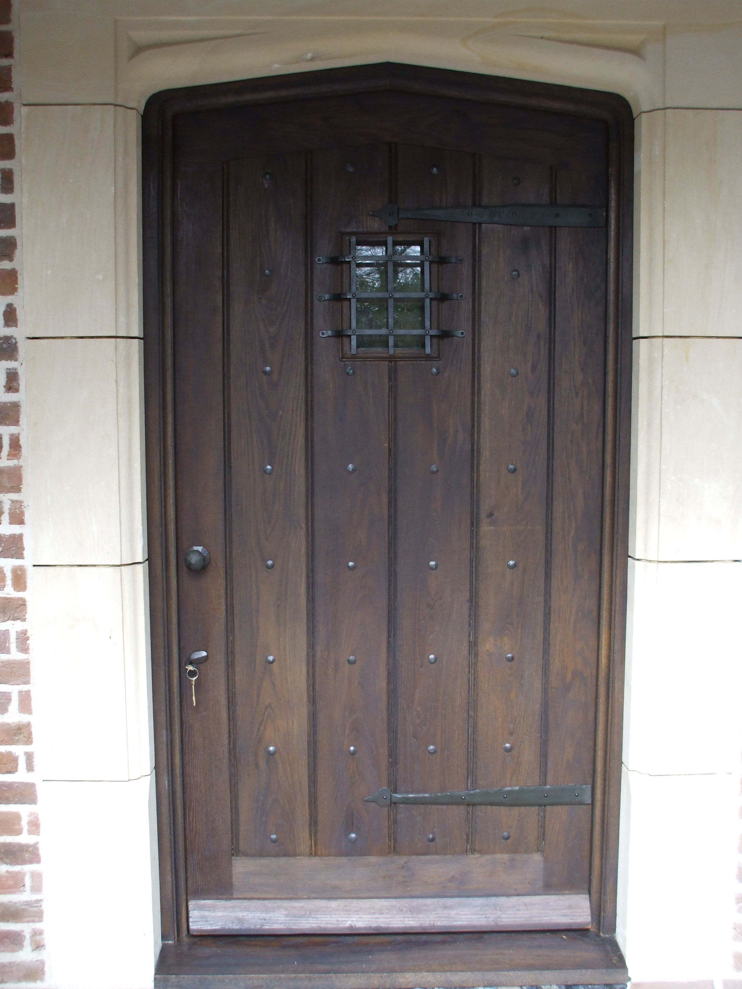 Gothic style oak front door and frame aged and polished for Front door frame