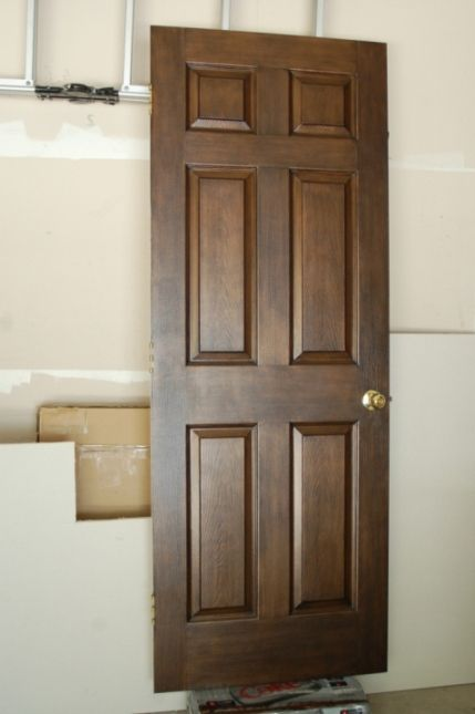 Delightful Faux Wood Finish On A Primed White Metal Door   For Interior Garage Entry  Door