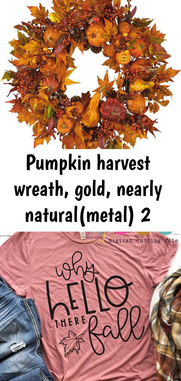 Pumpkin harvest wreath gold nearly naturalmetal 2 Shop Pumpkin Harvest Wreath  Free Shipping Today  Overstock  3437665 Why Hello There Fall SVG for Cricut crafting  SoFon...