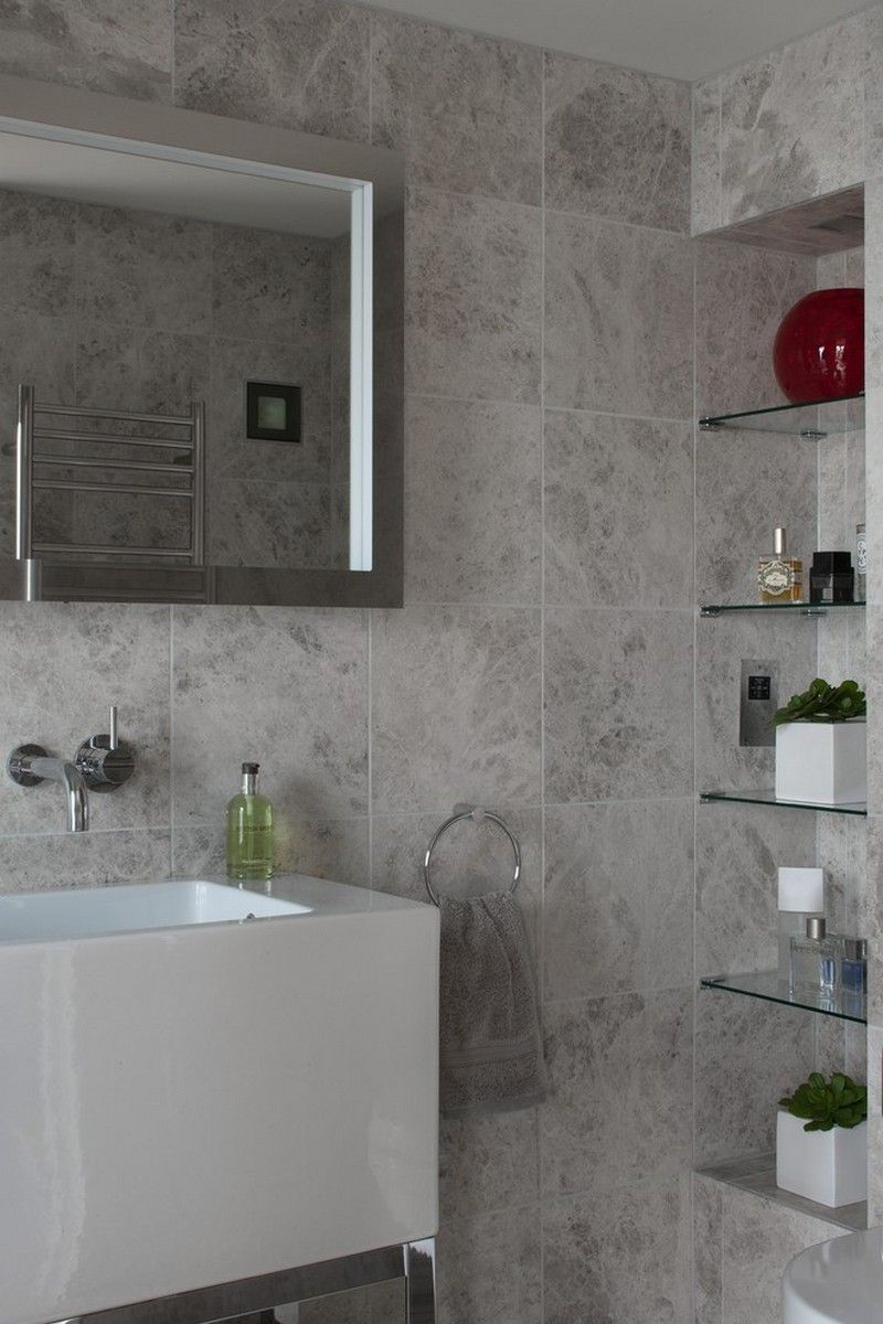Built in glass shelfs and stone tiles | Usual House
