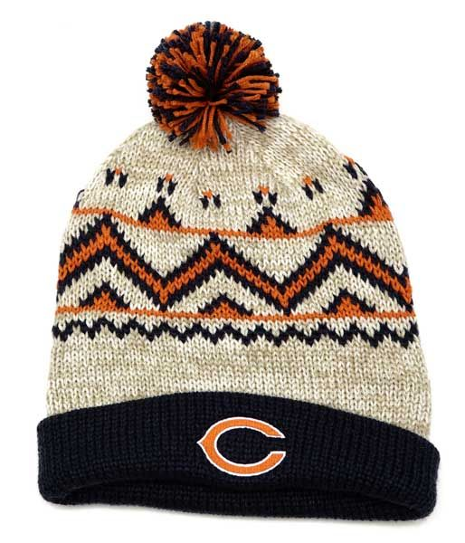 Chicago Bears Cream and Navy Cuffed Pom Knit Hat