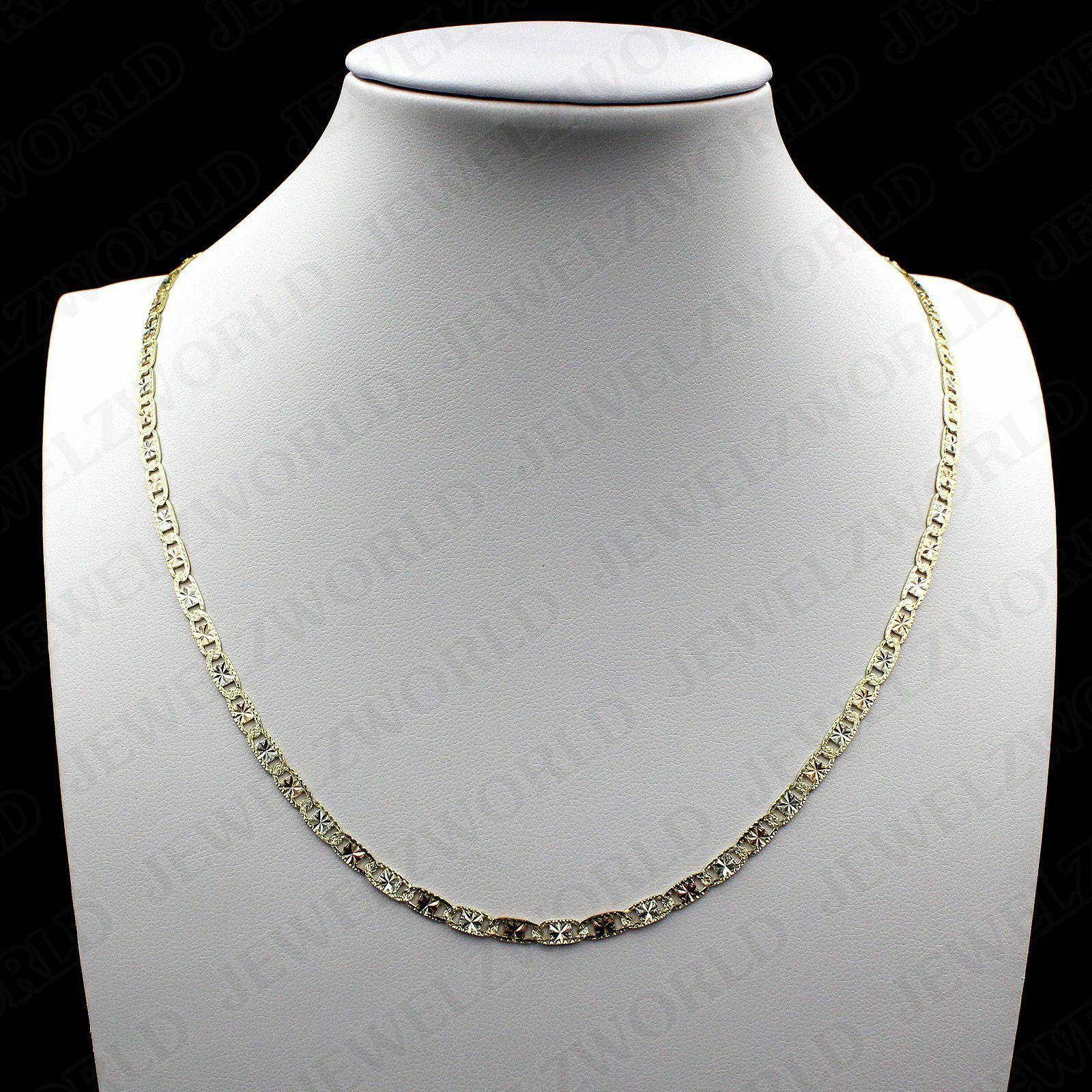 Real 10k Solid Yellow White Rose Gold Valentino Chain Necklace 2mm 16 24 Multi Tone Gold Necklace Ideas Of Multi Tone