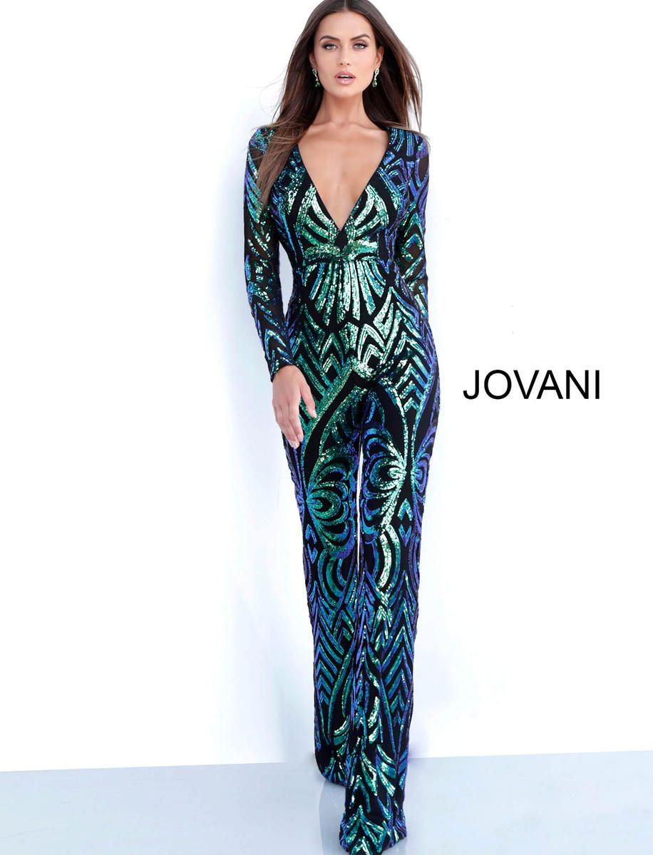 c4372755d6d Style 66511 from Jovani is a long sleeve Embellished deep V neck Prom  Jumpsuit.