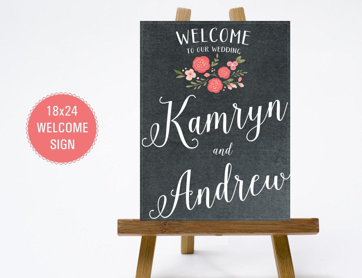 printable 18x24 chalkboard pink coral floral wedding welcome sign