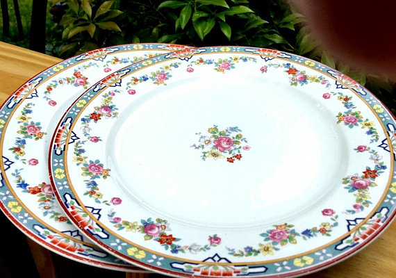 Antique W H Grindley England China Cr 1914 Dresden Dinner Plates Set Of 2 French Country Florals Transferware Replacements Dinner Plate Sets Dinner Plates Plate Sets