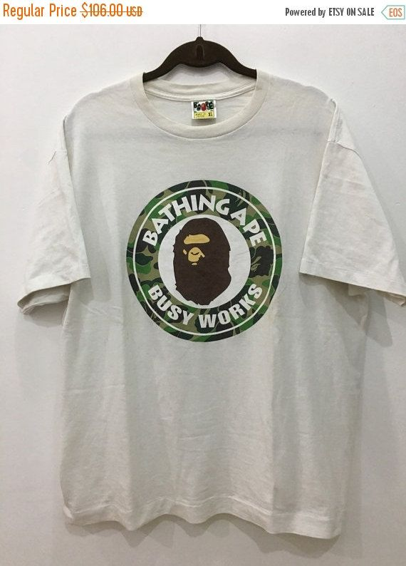 821ade99 Vintage 90s Bape Bathing Ape Busy Works Shirt by A Bathing Ape Shirt ...