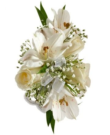 Rose And Alstroemeria Corsage A Corsage With Three White
