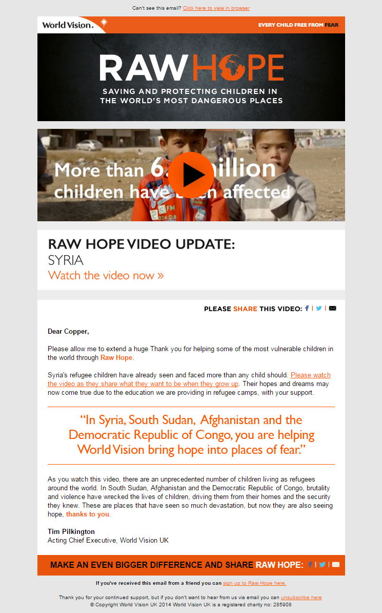 World Vision UK Raw Hope Video Update Thankful, World