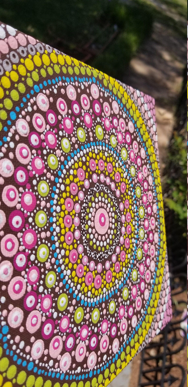 Vibrant Pink, Blue, Green, And Brown Dot Painting Mandala Painted