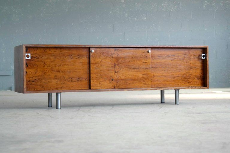 Danish Rosewood Credenza : Danish teak rosewood credenza with lighted hutch u metro eclectic