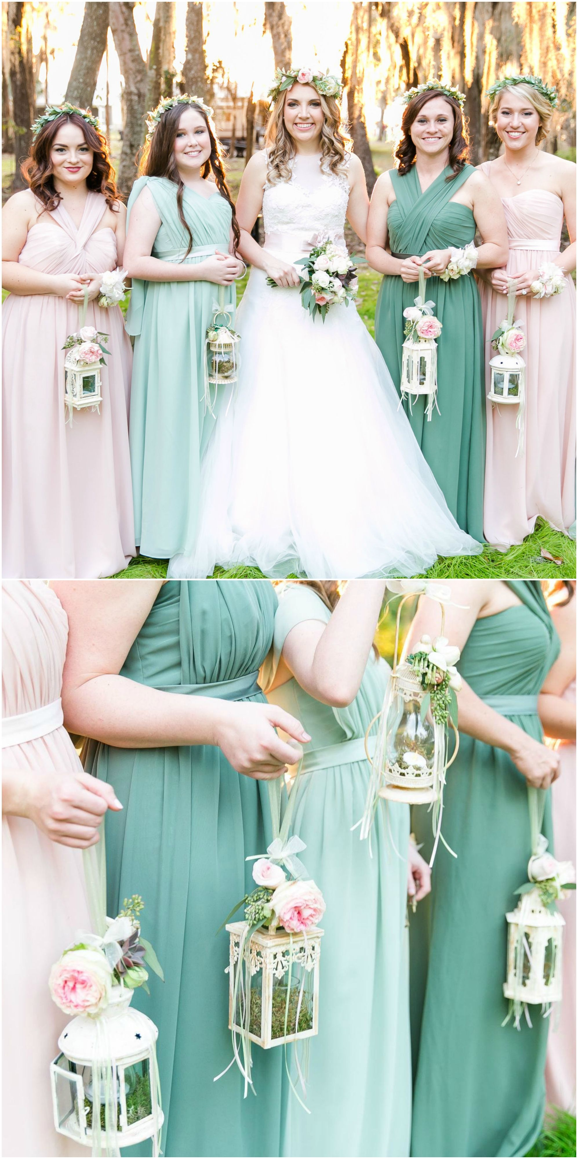 Bridesmaids In Flower Crowns White Lanterns Turquoise Pastel