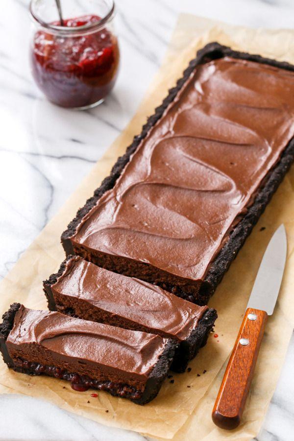 Tart Cherry Chocolate Truffle Tart with a layer of Tart Cherry Jam