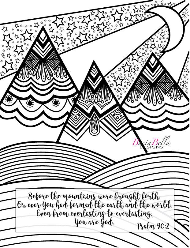 Zen Tangle Mountain Psalm 90 2 Adult Coloring Page Before The