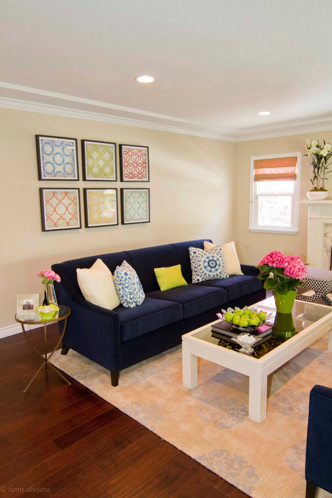 Neutral Transitional Living Room With Navy Blue Sofa Blue Living