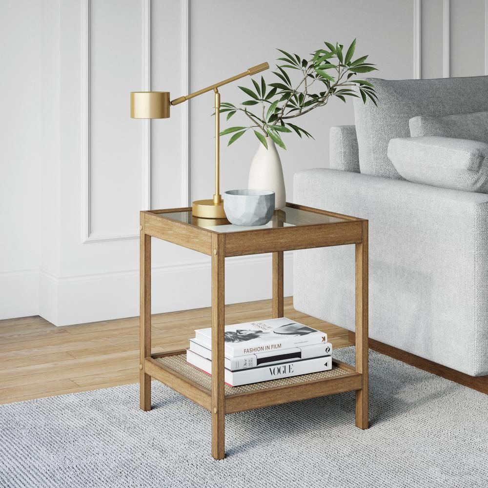 Nathan James Hayes Light Brown Solid Wood Glass Top With Open Storage Shelf Nightstand Bedside End Or S Glass Top End Tables Black Side Table Side Table Wood [ jpg ]