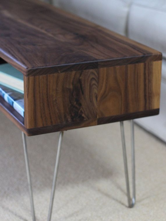 Mid Century Modern Walnut Coffee Table With Stainless
