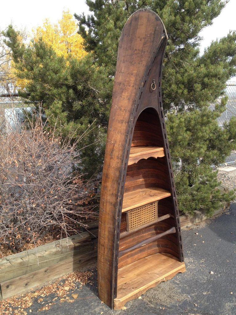 Antique Canoe Bookshelf 1930s Newly Built Shelves 43w X 21d 87