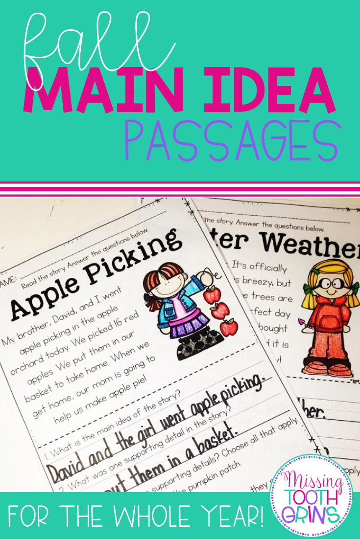 These Main Idea Passages Are Perfect For First And Second Graders Learning About Main Idea In The Fall Each Page Has Main Idea This Or That Questions Passage