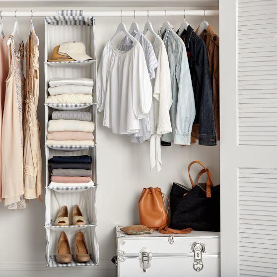 Hanging Closet Sweater Organizer Blue Ticking Stripe Pbteen Dorm Organization