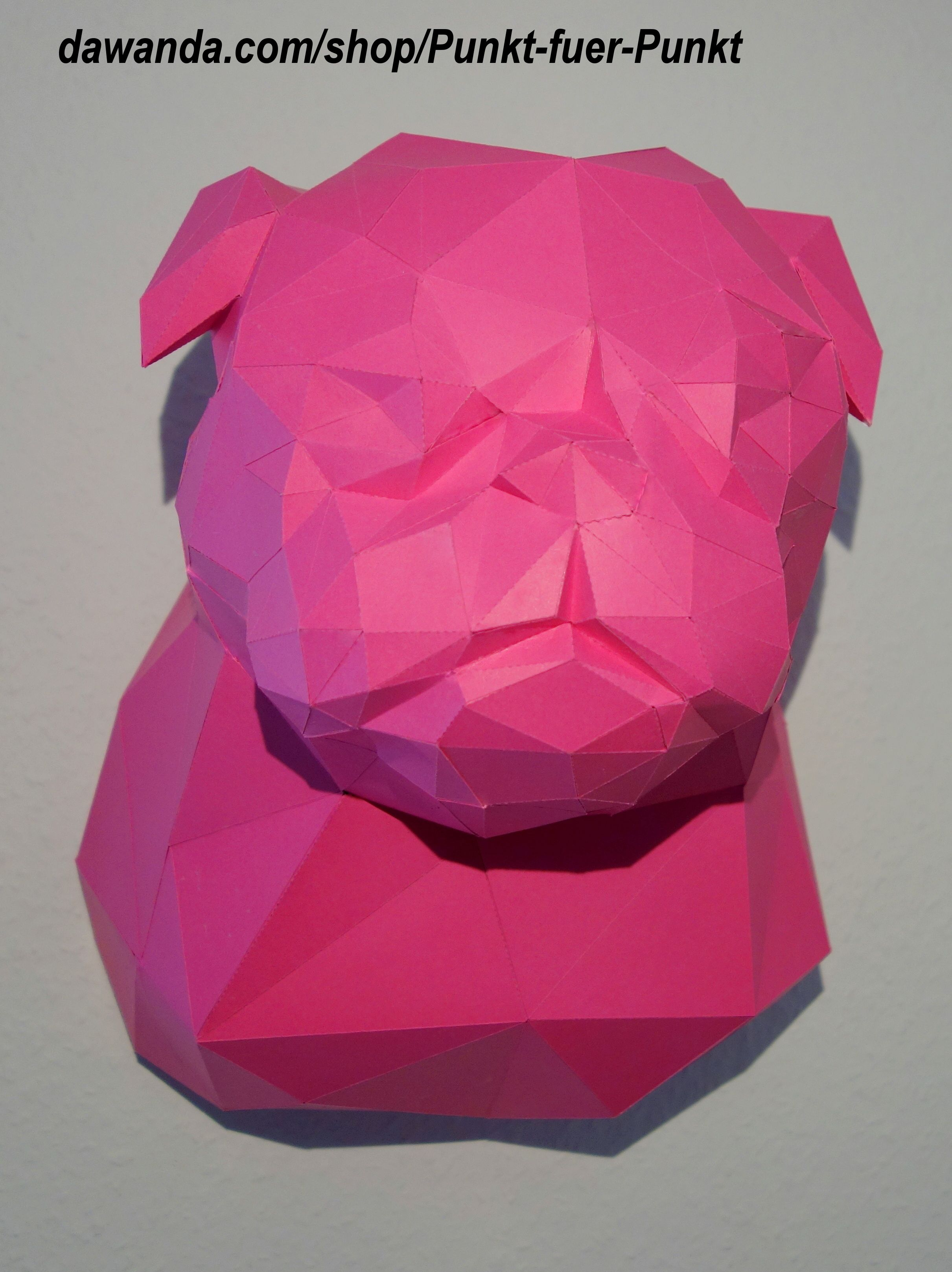 Pug DIY Do It Yourself Papercraft Papertrophy Origami Trophy Wallart