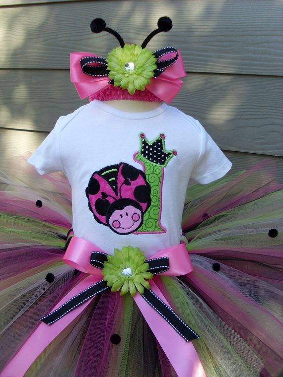 Girls Personalized Pink Ladybug Bash Number Birthday Tutu Set