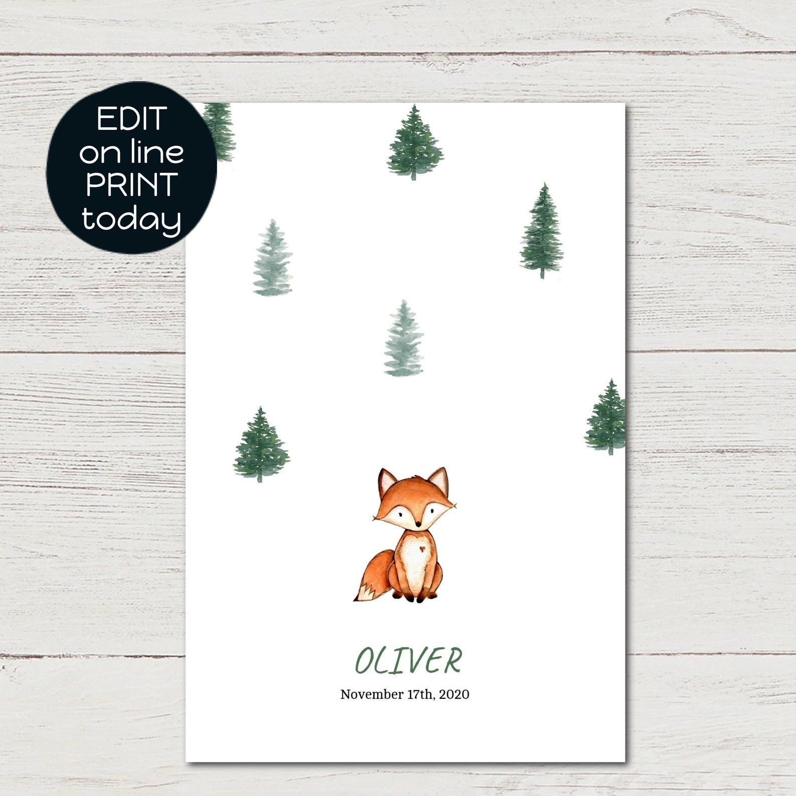 Printable Birth Announcement Card Watercolor Fox Woodland