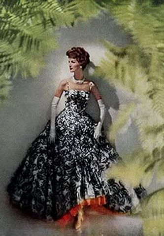 modess ad 1950s evening dress