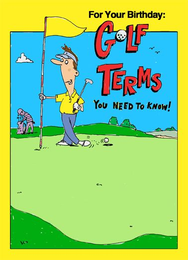 Funny Birthday Card Golfing Golf Jokes Cards For Him Hilarious Terms LOL Guy Laughs Cartoon Beer
