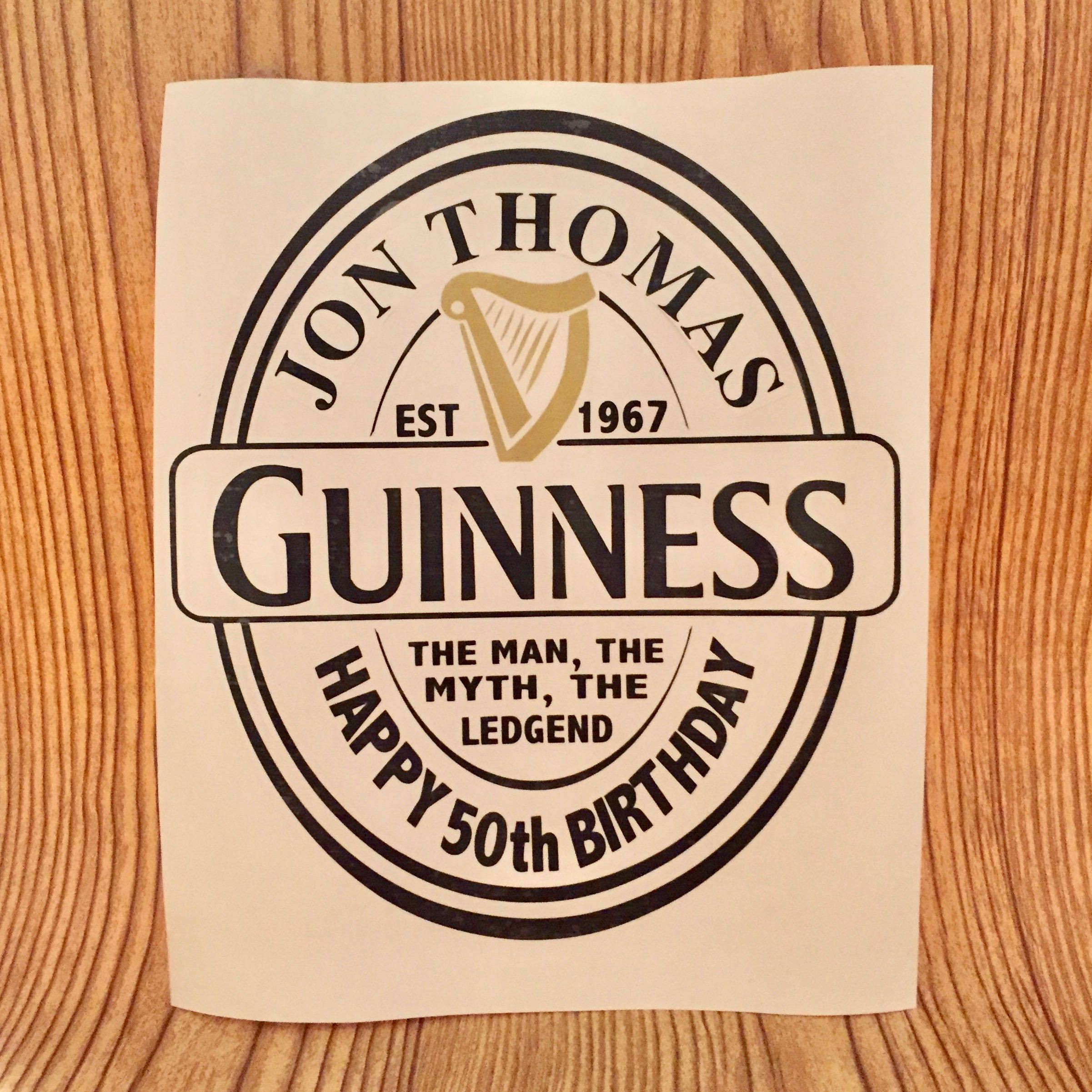 Personalized GUINNESS LABEL inspired Decal, for birthdays, bestman, groomsman, etc. by TmangsTreasures on Etsy