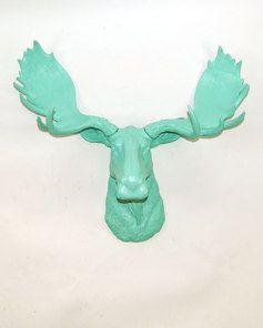 The Albany Moose Head Faux Taxidermy Seafoam Resin White Faux Taxidermy Moose Head Faux Taxidermy