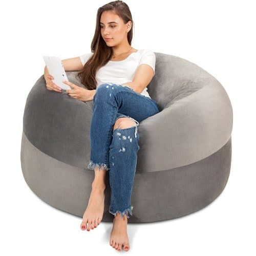 Groovy 5Ft Bean Bag Chair In Steel Grey Top Best Bean Bag Chairs Camellatalisay Diy Chair Ideas Camellatalisaycom