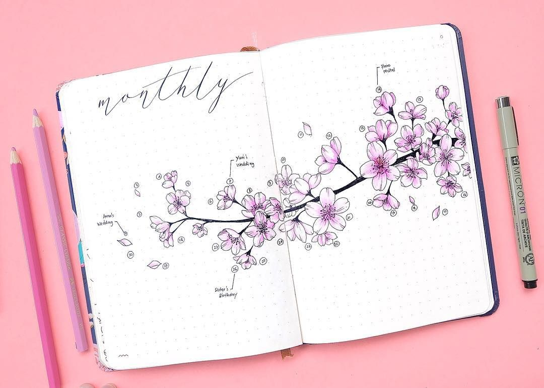 Bullet Journal Monthly Log Cherry Blossoms Drawing Kohanadiary Cherry Blossom Drawing Bullet Journal Themes Bullet Journal Mood