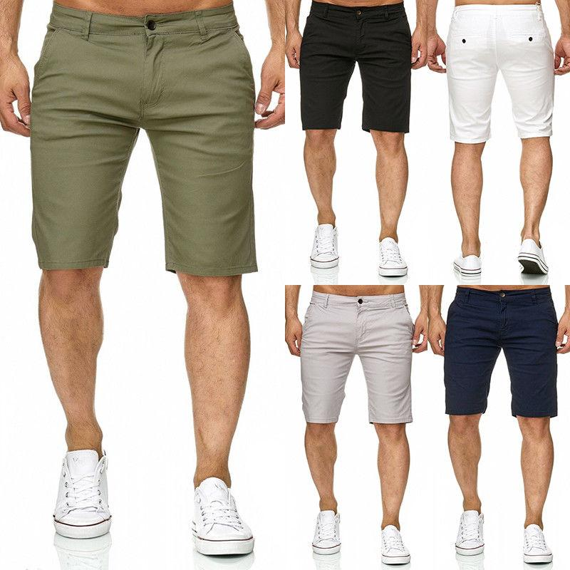 Slim Fit Solid Cotton Blend Soft Work Uniform Knee Length Casual Shorts    Slim fit men, Casual summer shorts, Mens shorts