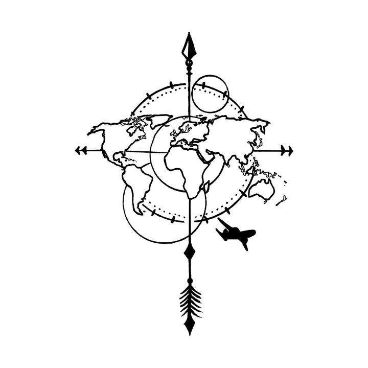 Globe World Map With Plane Tattoo Design 7