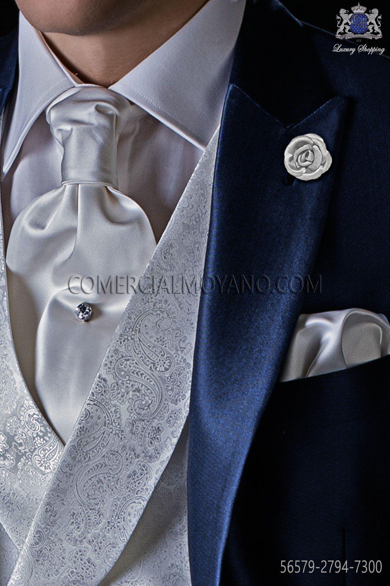 diseño hábil baratas realmente cómodo Corbatón con pañuelo a juego gris perla raso mixto seda en ...