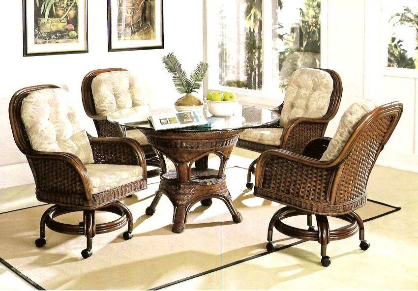 Moroccan Caster Rattan And Wicker Dining Set Dining Room Chairs