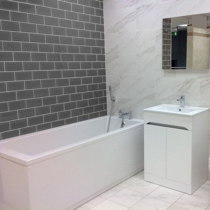 bathrooms with grey metro tiles  Google Search  House in