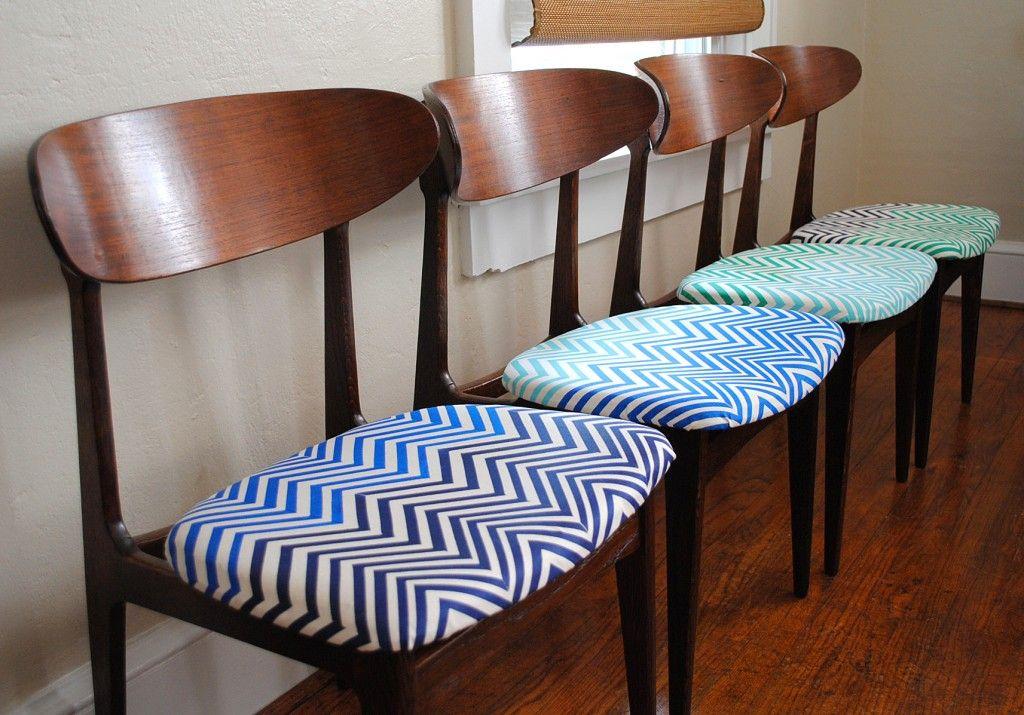 Danish Modern Chairs Chevron Block Printed Fabric For